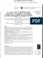 A Model for Evaluation and Selection of Suppliers in Global Textile and Apparel Supply Chains