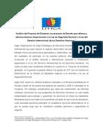 Análisis del Proyecto de Dictamen con proyecto de Decreto que reforma y adiciona diversas disposiciones a la Ley de Seguridad Nacional a la luz del Derecho Internacional de los Derechos Humanos