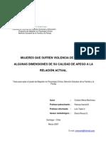 Mujeres Que Sufren Violencia de Pareja - Estilo de Apego. Cristian Mena Martineau