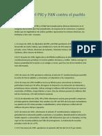 Infamias Del PRI y PAN Contra El Pueblo