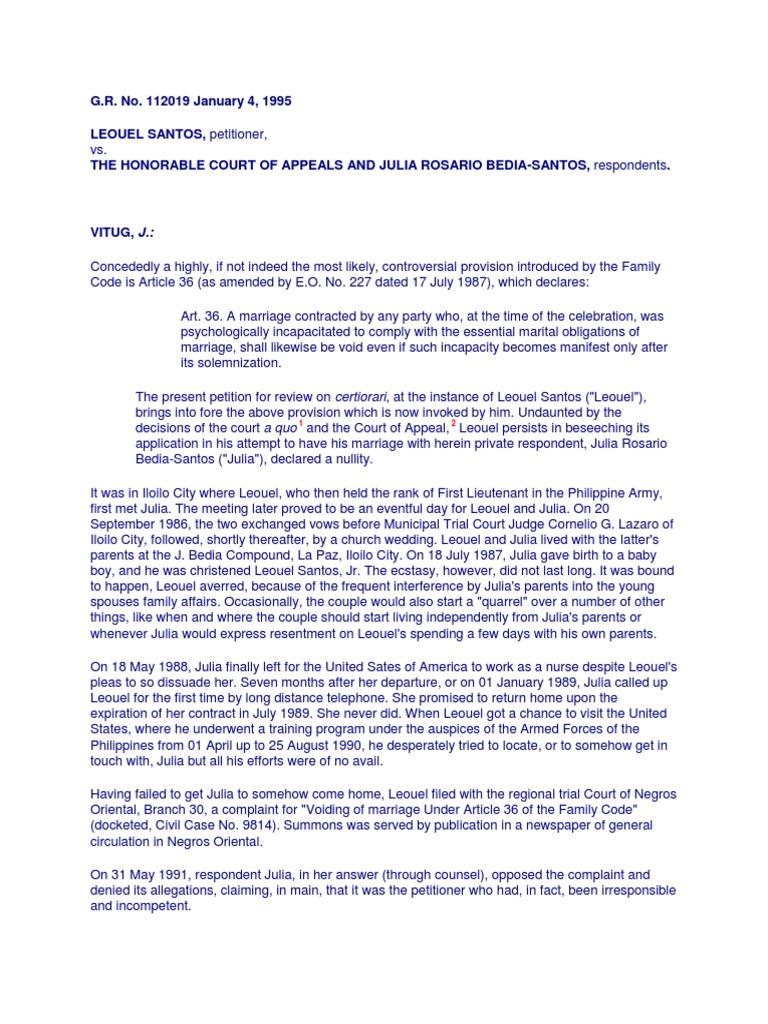 Leouel Santos v  Court of Appeals | Annulment | Marriage