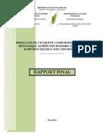 Résultats de l'enquête comportementale et biologique auprès des hommes ayant des rapports sexuels avec des hommes (ONUSIDA, PNLCS - 2011)