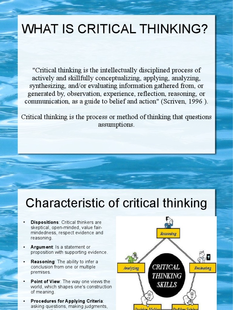critical thinking reasoning and inference My short answer is that critical thinking requires reasoning and additional skills, and the phrase tends to be used in relation to a subject matter having to do with the 'real world', whereas reasoning is something that is applied more generally in any one of a number of pursuits.