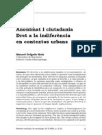 Delgado, M. - Anonimat i ciutadania. Dret a la indiferència en contextos urbans [1999]