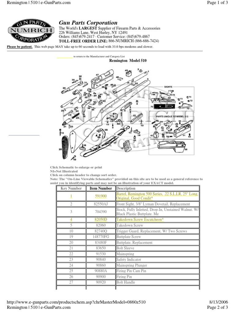 Remington Model 510 Schematic Wiring Diagrams For Dummies 870 Parts Diagram Lzk Gallery 22cal Screw Trigger Firearms Rh Es Scribd Com 511
