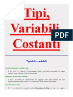 Tipi, Variabili Costanti CPP