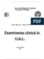 Exam in Area Clinica in Orl