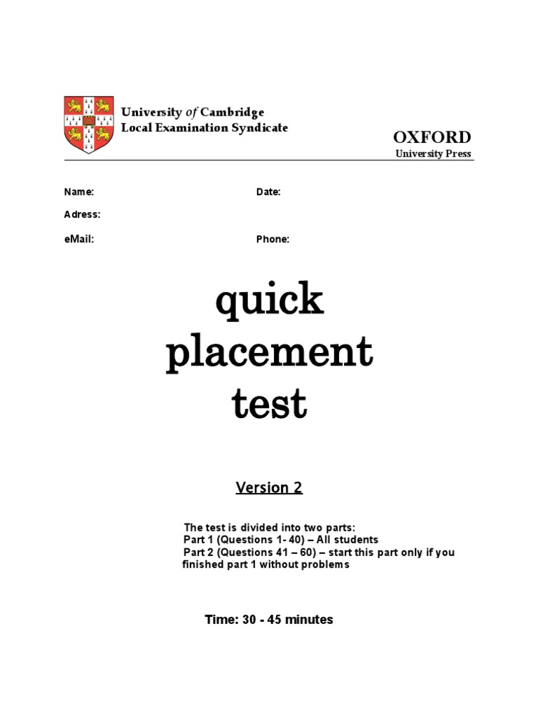 english placement test Easily create an english placement test that is engaging and quick to fill out use this ready-made template and place students in the right level today.