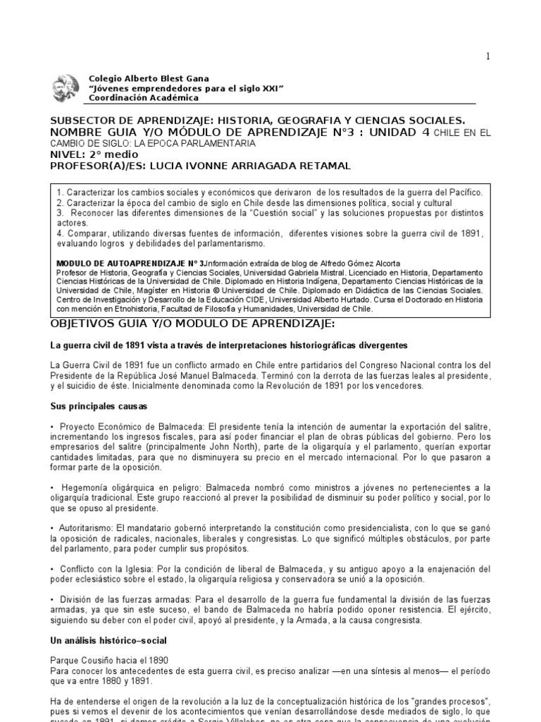 2 Medio Historia Lucia A Modulo N 3 De Autoaprendizaje Republica  # Muebles Luz Maria Balmaceda
