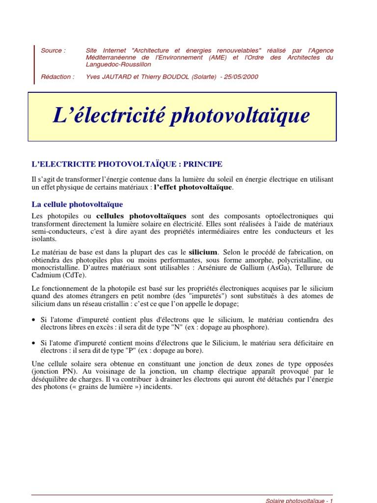 Cellule Photovoltaïque En Silicium Amorphe avec photovoltaique