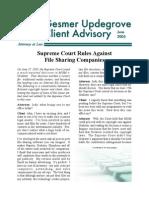Gesmer Updegrove Client Advisory re Grokster