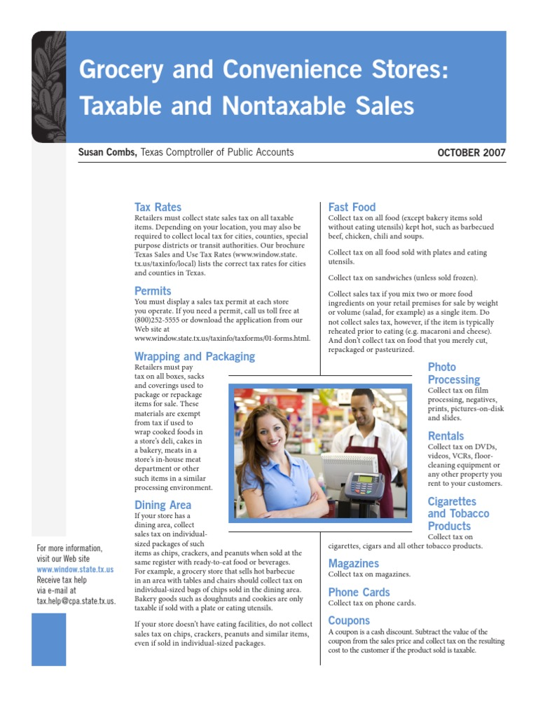 comptroller s list of taxable nontaxable items sales taxes in the