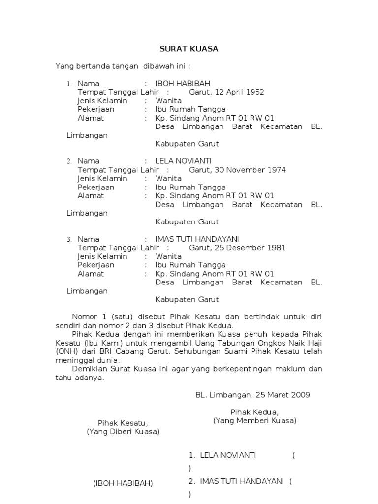 Surat Kuasa Pengambilan Buku Cek Di Bank - Kumpulan Surat ...