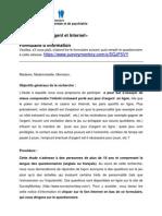 Etude «Jeux d'argent et Internet» formulaire information