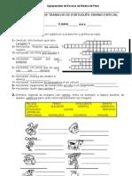 ficha para ensino especial de Português, 3º ciclo