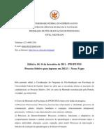 Edital Mestrado PPGP Ufes 2012
