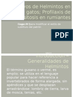 Huevos de Helmintos en Perros y Gatos; Profilaxis de Parasitosis en Rumiantes