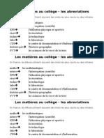 Les Matieres Au College-Abreviations
