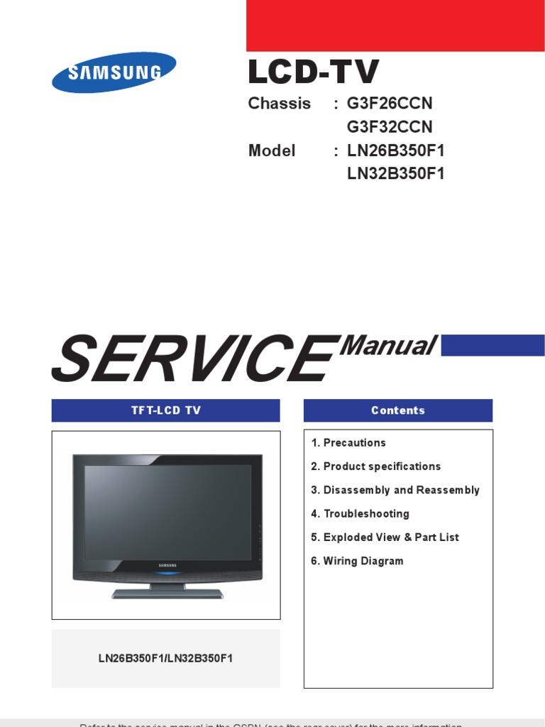 tv samsung lcd ln26b350f1 ln32b350f1 chasis bn44 00289a rh scribd com user manual samsung 32 lcd tv manual de usuario tv samsung lcd 32