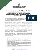 ALEGACIONES FISCALES PSOE 2012