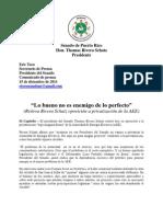 """""""Lo bueno no es enemigo de lo perfecto"""" (Reitera Rivera Schatz oposición a privatización de la AEE)"""