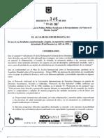Polìtica pùblica distrital para el envejecimiento-decretto 345-2010
