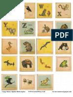 ROOKNO17 Vintage Nursery Alphabet Blocks U-Z