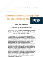 Communication a Strategic Site for the Debate on Modernity