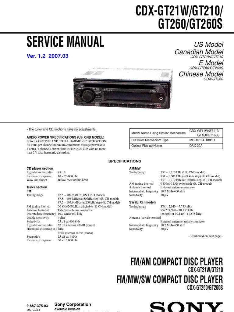 sony cdx gt21w gt210 gt260 esquema hertz compact disc rh scribd com Sony Xplod Deck Wiring-Diagram Sony Xplod Deck Wiring-Diagram