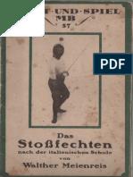 Das Stoßfechten Nach Der ItalienischenSchule -  Walther Meienreis 1914
