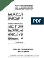 Verified Impeachment Complaint against Supreme Court Chief Justice Renato Corona