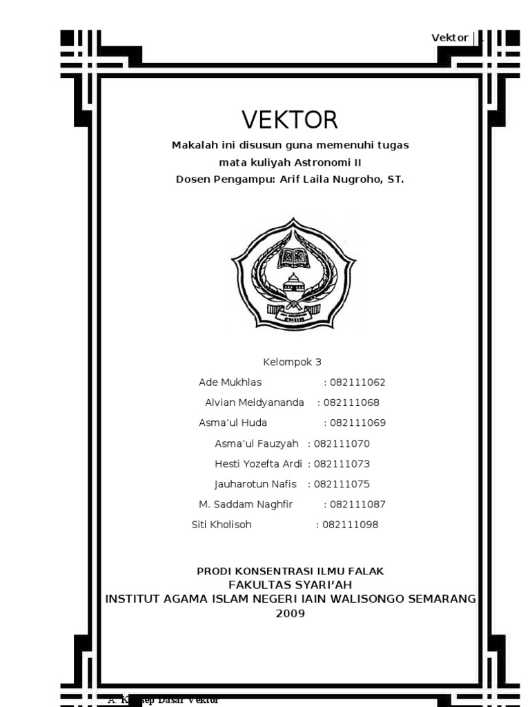 Makalah Vektor Makul Astronomi 2