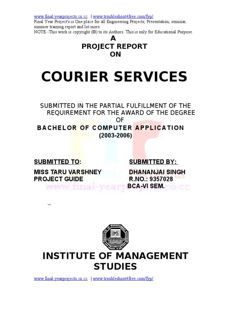 Courier Service Project Report   Software Development Process