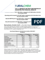 URALCHEM HOLDING P.L.C. Reports the First Nine Months of Year 2011 Unaudited IFRS Financial Results
