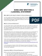 Preparing Writing a Personal Statement