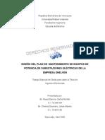 Diseño del plan de mantenimiento de equipos