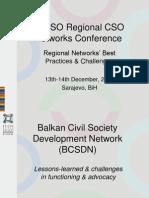 98-3 BCSDN PPP, TACSO Regional CSOs Networks Conf, 13th-14th Sarajevo