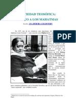 Sociedad Teosófica -Culto a los Mahatmas
