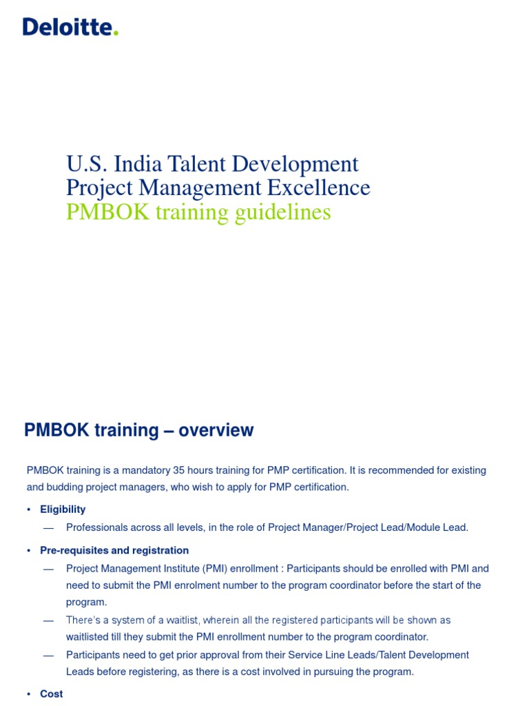Pmbok Training Guidelines Academic Degree Project Management