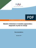 HAS 2011 Recommandations Maladie d Alzheimer Et Maladies Apparentées