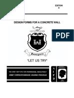 US Army en 5151 Engineer Course - Design Forms for a Concrete Wall En5151