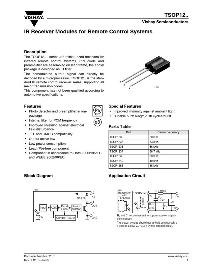 Tsop12xx Fluorescent Lamp Modulation Ir Remote Control Circuit Diagram