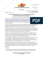 Maryland Gov. Martin O'Malley's Press Release Announcing 2012 Legislative Redistricting