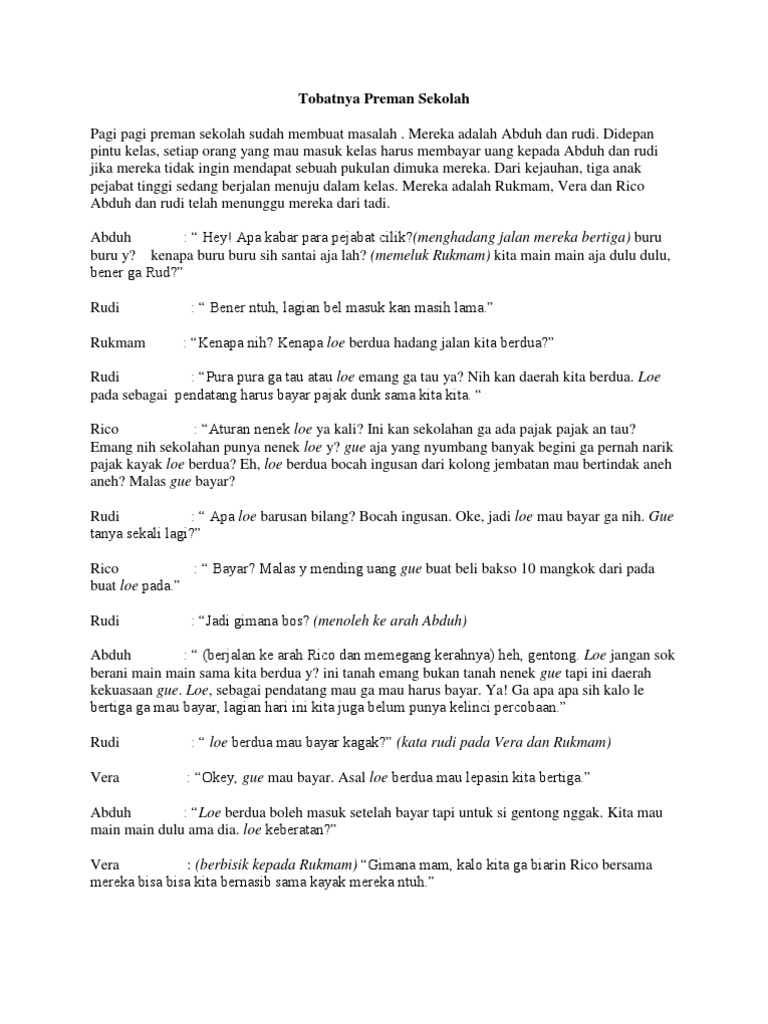 Contoh Teks Drama 7 Orang Tentang Anak Durhaka Brad Erva Doce Info