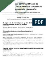 II JORNADAS DEPARTAMENTALES DE FORMACIÓN E INTERCAMBIO DE EXPERIENCIAS EN INVESTIGACIÓN Y EXTENSIÓN