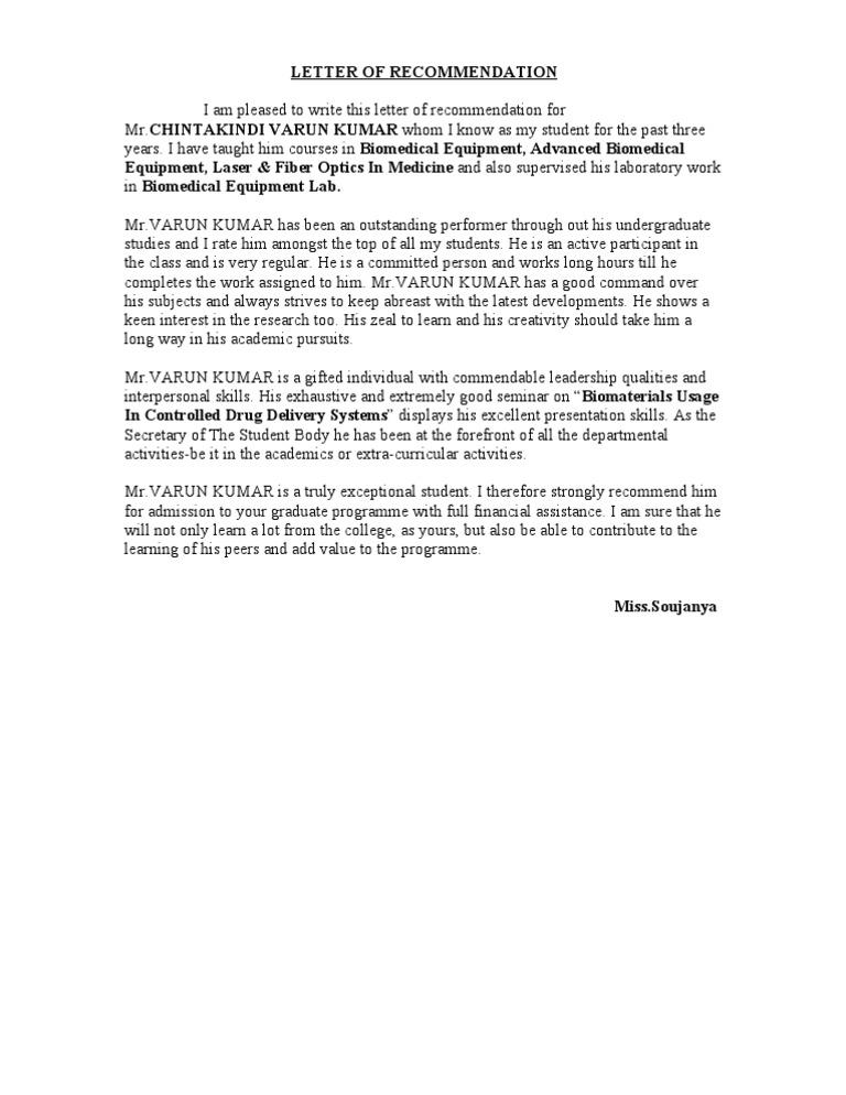 Letter Of Recommendation Soujanya