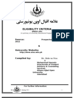 Eligibility Criteria Spring-2012 Semester
