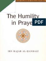 """Humilty in Prayer - """"Kushoo Fees- Salah"""" - Imam Ibn Rajab al-Hanbali"""