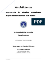 Acrylic Binders for Low Voc Paints