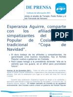 """Esperanza Aguirre, comparte con los afiliados y simpatizantes del Partido Popular de Coslada la tradicional """"Copa de Navidad""""."""